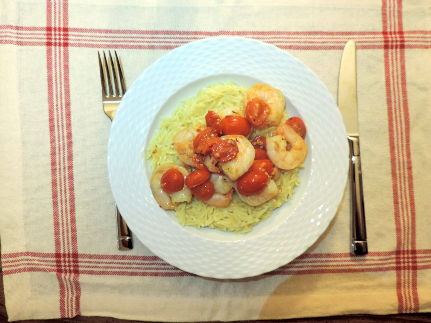 Garlic and Tomato Shrimp with Orzo