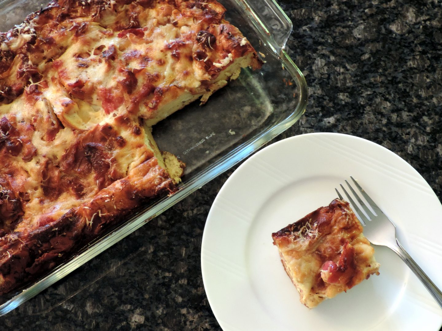 Gruyere, Bacon and Caramelized Onion Egg Casserole