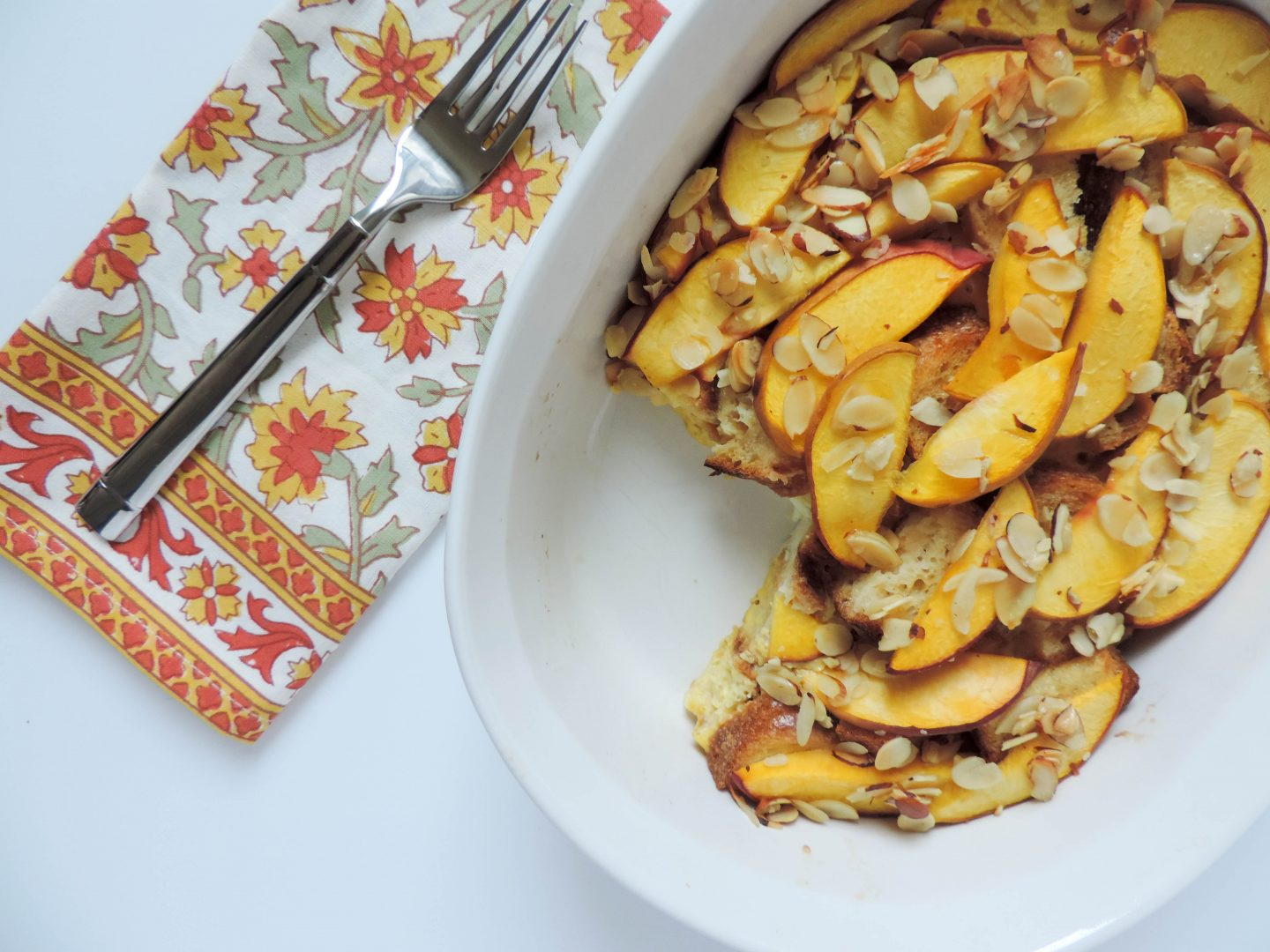 Peach and Almond French Toast Bake
