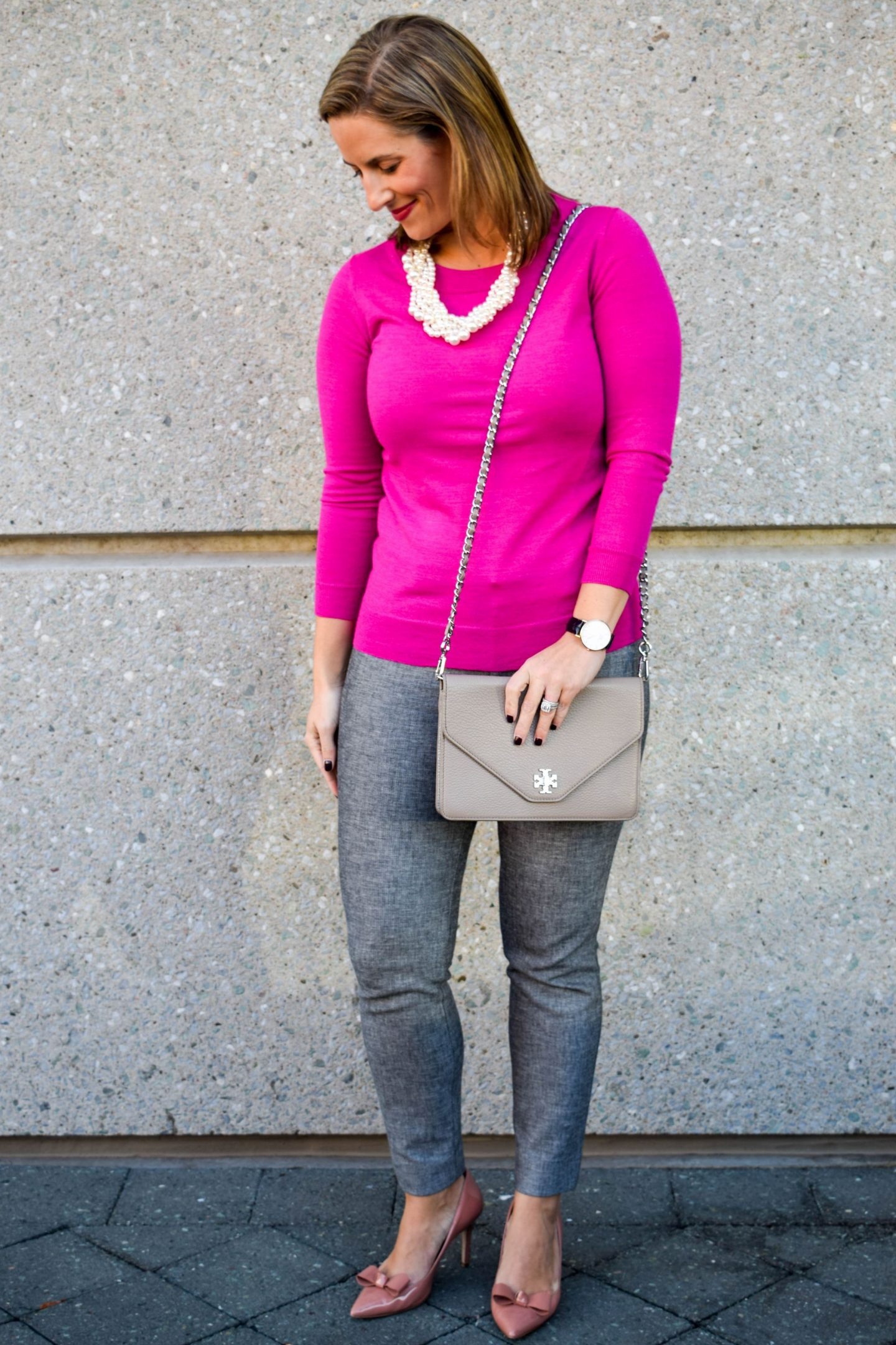 Pink & Gray Office Outfit Of The Day