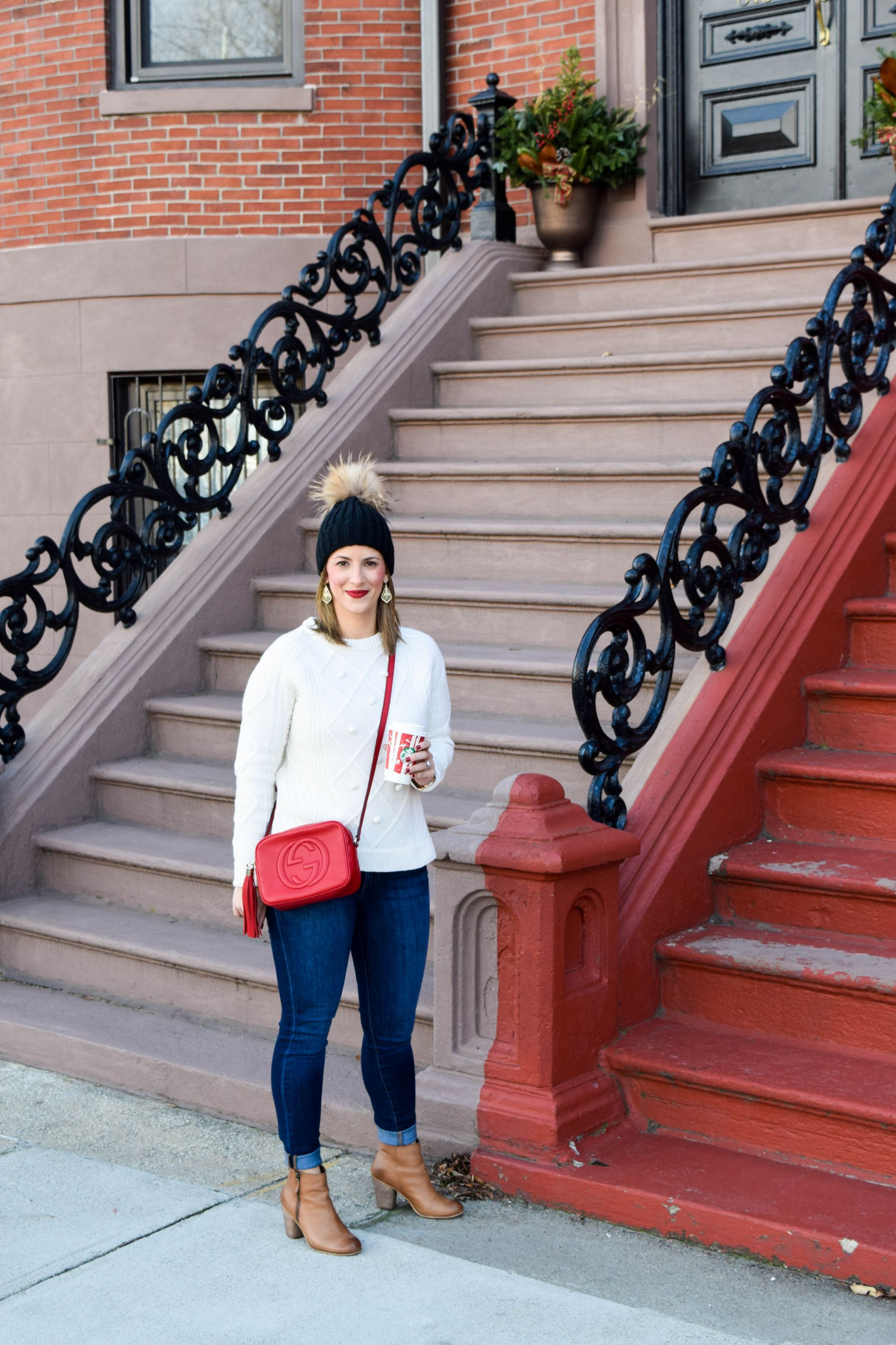 dfc924ad0694 Holiday Errands- J.Crew Pom Pom Sweater- Gucci Red Soho Disco Bag- Boston  Chic Party-3