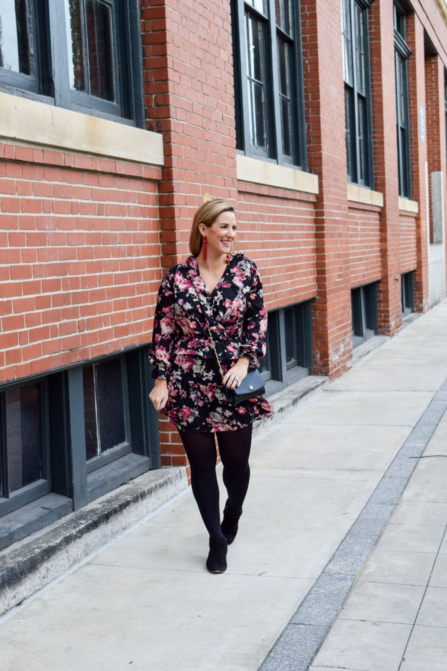 Fall Floral Mini Dress