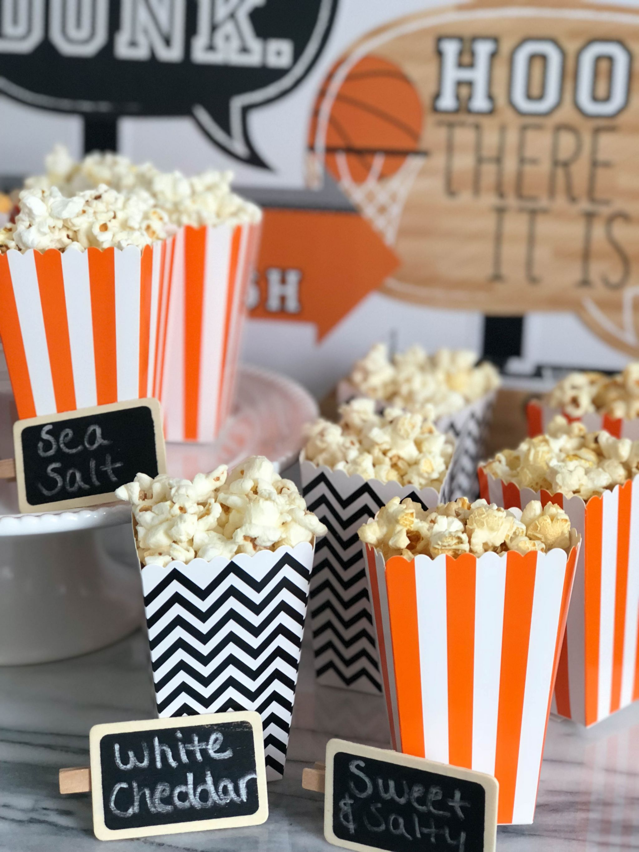 Basketball Game Day Popcorn Bar With Angie S Boomchickapop Game Day Snack Ideas Popcorn Bar Easy Snack Ideas Easy Entertaining 13 Boston Chic Party