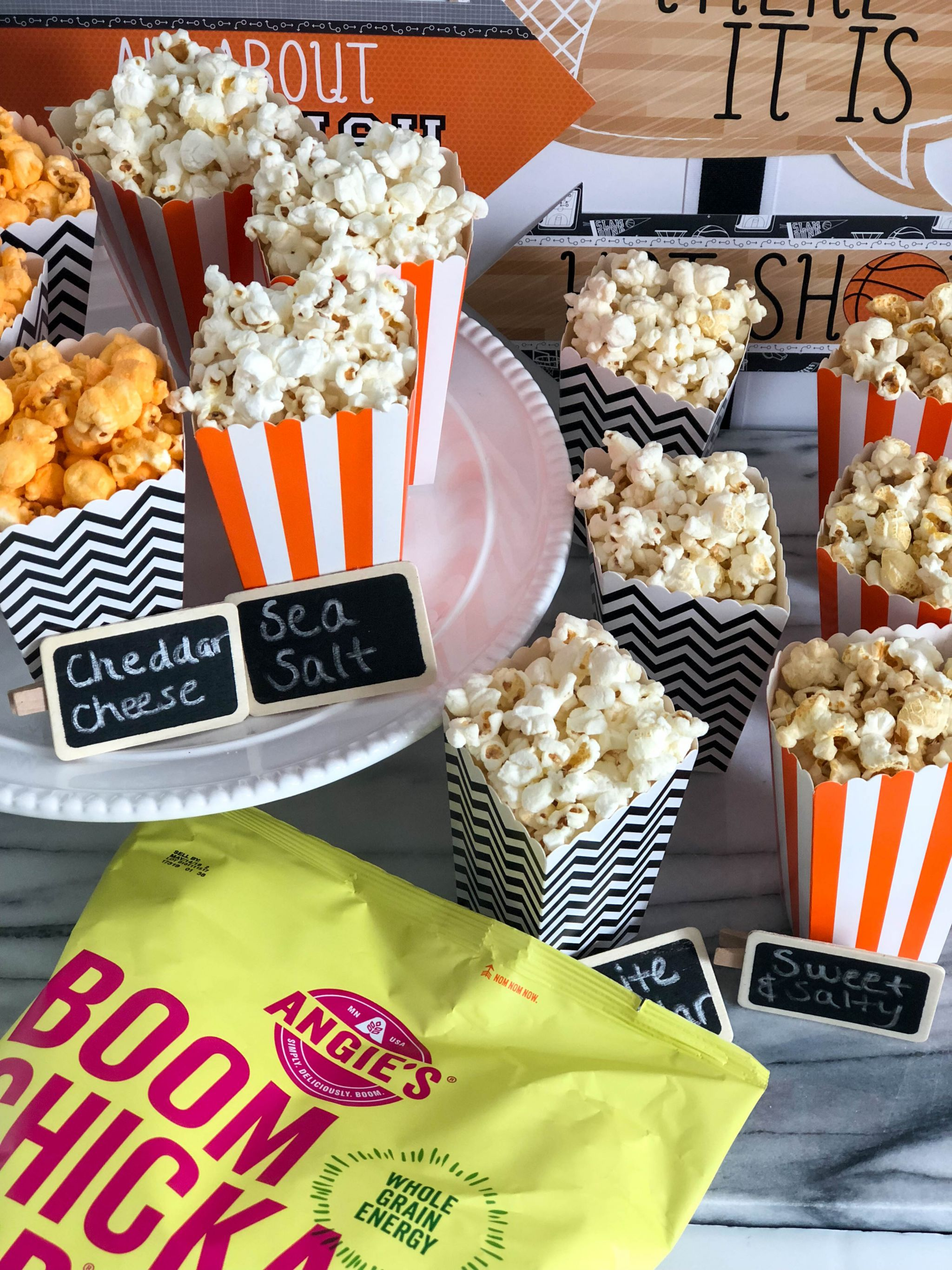 Basketball Game Day Popcorn Bar With Angie S Boomchickapop Game Day Snack Ideas Popcorn Bar Easy Snack Ideas Easy Entertaining 19 Boston Chic Party