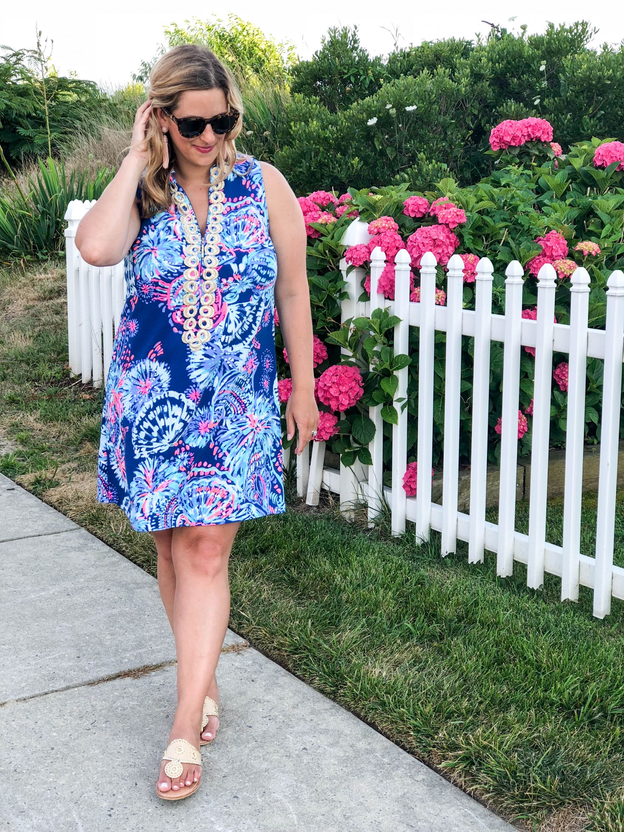 489bd6ac7b Summer in Lilly- Lilly Pulitzer Jane Shift- Deep Indigo Gypsea Girl Lilly  pattern- Summer outfit- Boston Chic Party-2