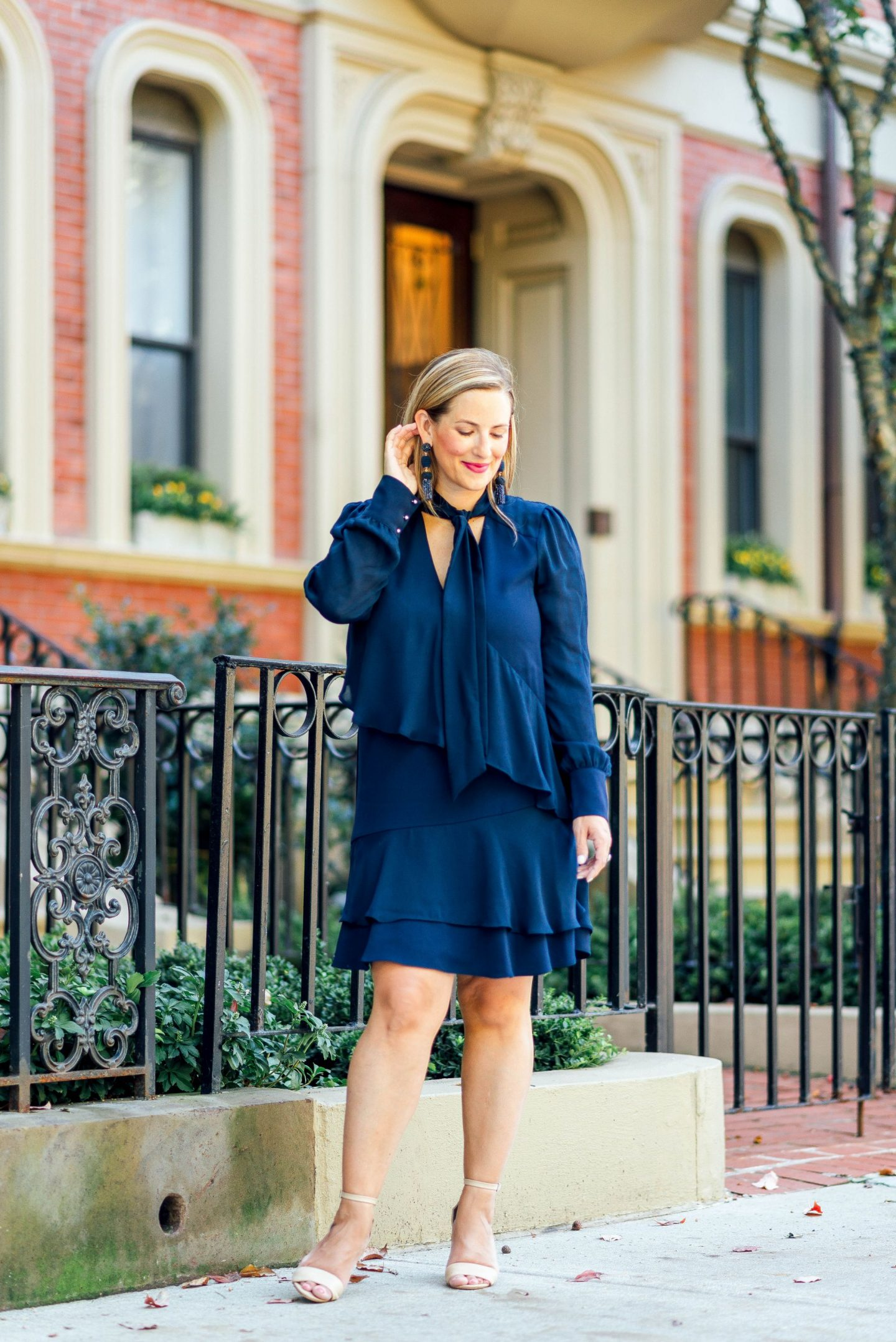 Navy Or Nothing Ruffled Dress