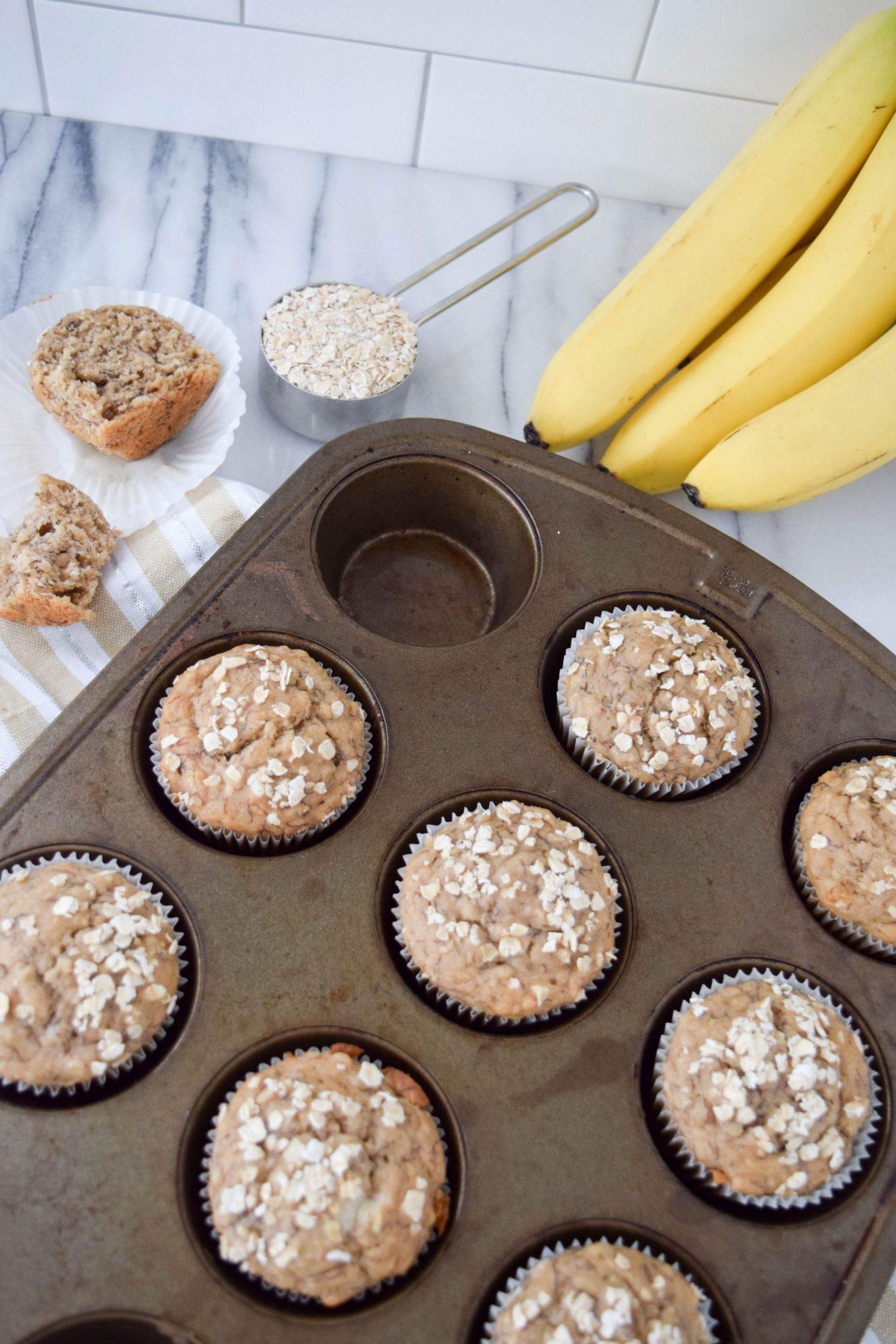 Egg & Nut Free Banana Oat Muffins