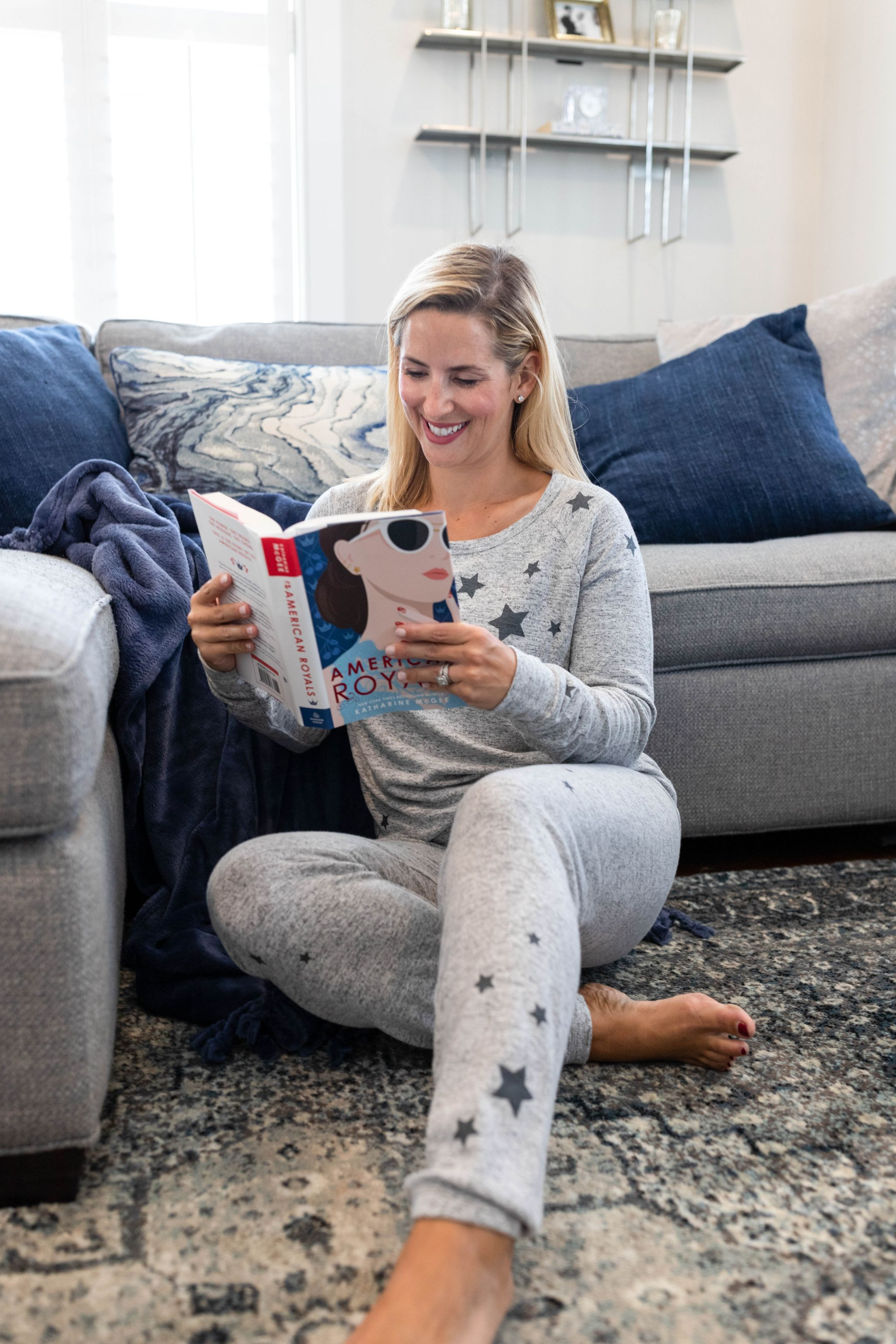 Reading In Cozy Matching Sweat set with stars