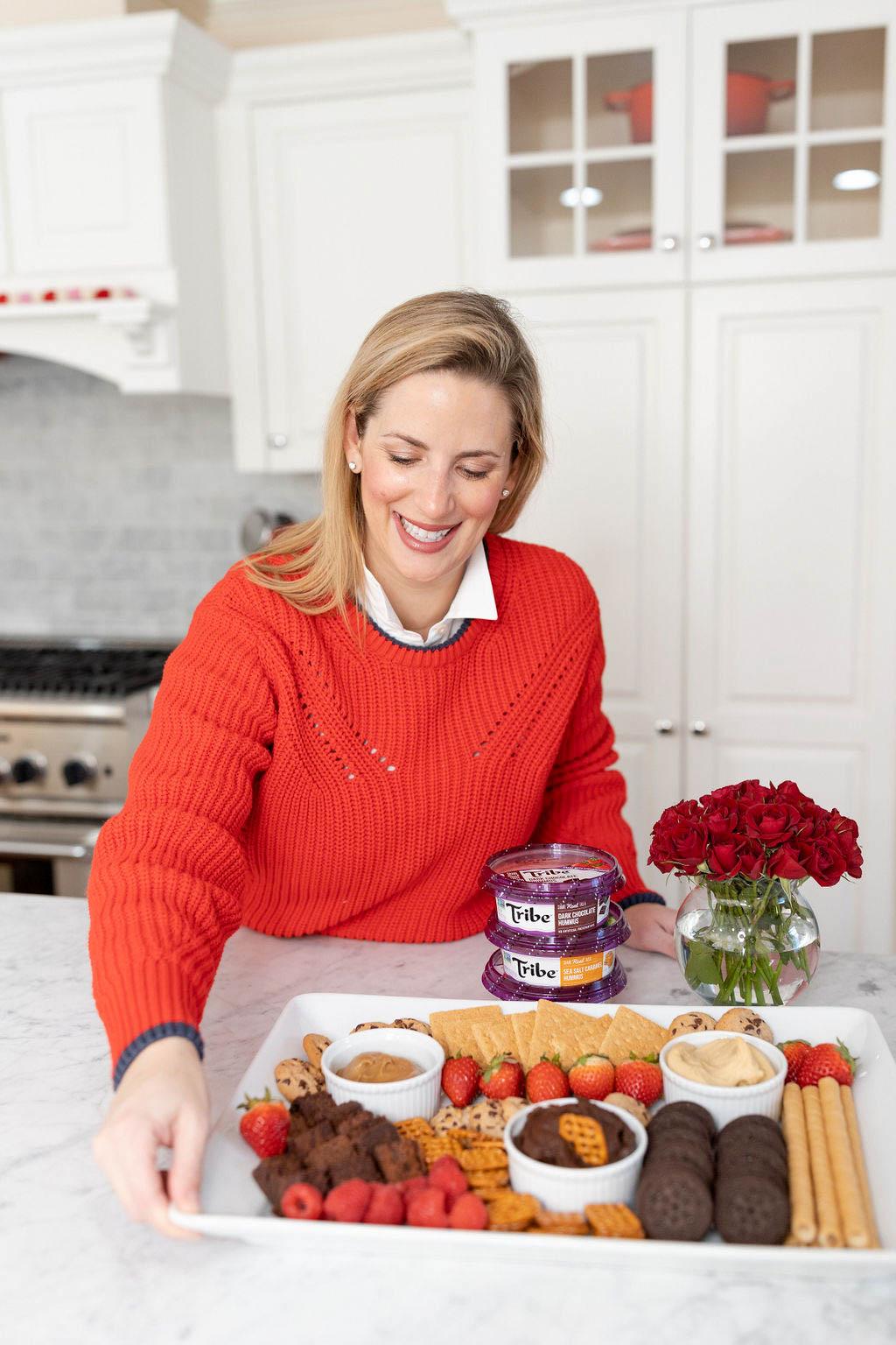 Valentine's Day Dessert Platter with Tribe Hummus