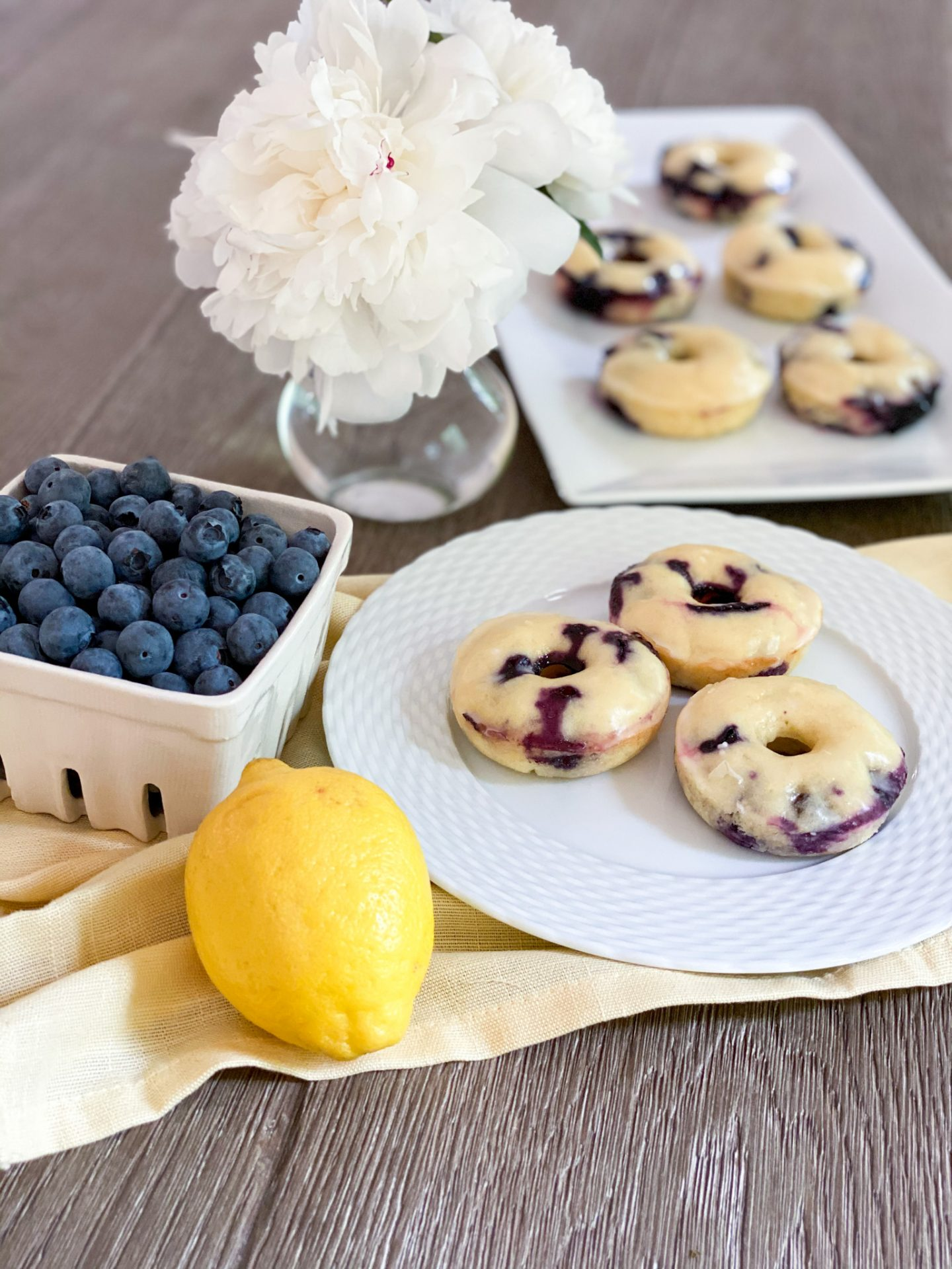 Lemon Blueberry Glazed Doughnuts