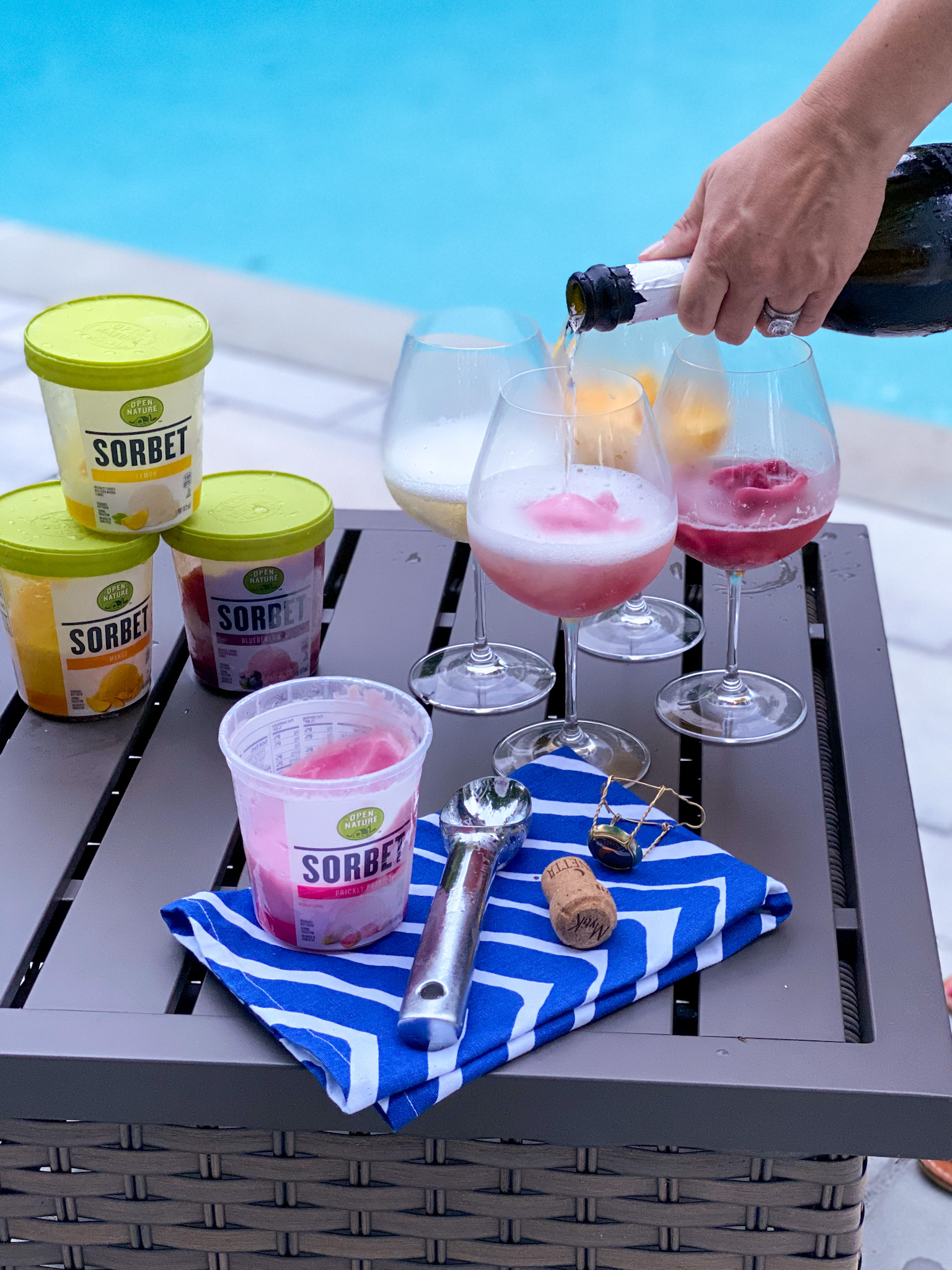 Prosecco & Sorbet Floats with Shaw's Open Nature Sorbet